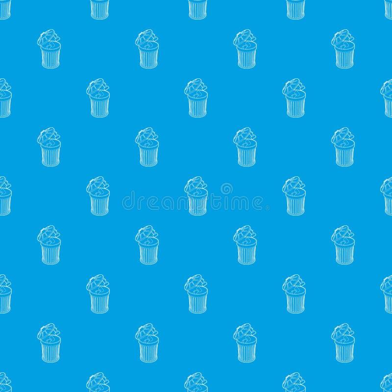 Reprenez jeté dans le bleu sans couture de vecteur de modèle de poubelle illustration stock