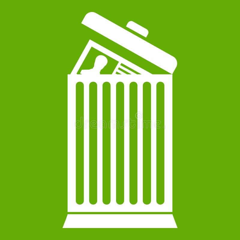 Reprenez jeté en vert d'icône de poubelle illustration de vecteur