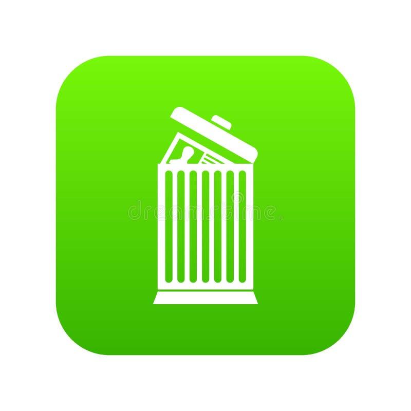 Reprenez jeté en vert numérique d'icône de poubelle illustration de vecteur