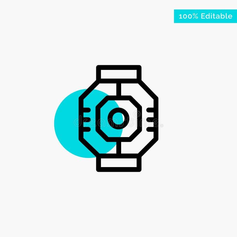 Represa, cápsula, componente, módulo, ícone do vetor do ponto do círculo do destaque de turquesa da vagem ilustração stock
