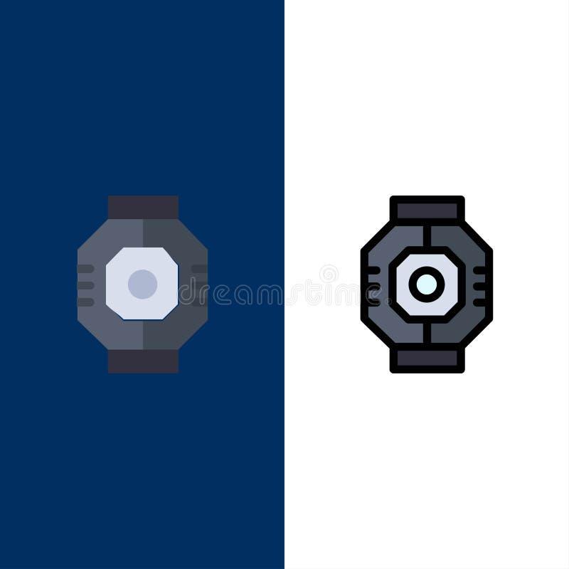 Represa, cápsula, componente, módulo, ícones da vagem O plano e a linha ícone enchido ajustaram o fundo azul do vetor ilustração do vetor