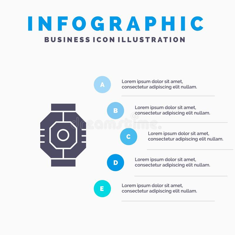 Represa, cápsula, componente, módulo, fundo contínuo da apresentação das etapas de Infographics 5 do ícone da vagem ilustração royalty free