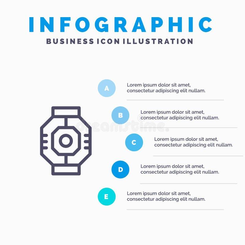 Represa, cápsula, componente, módulo, linha ícone da vagem com fundo do infographics da apresentação de 5 etapas ilustração do vetor