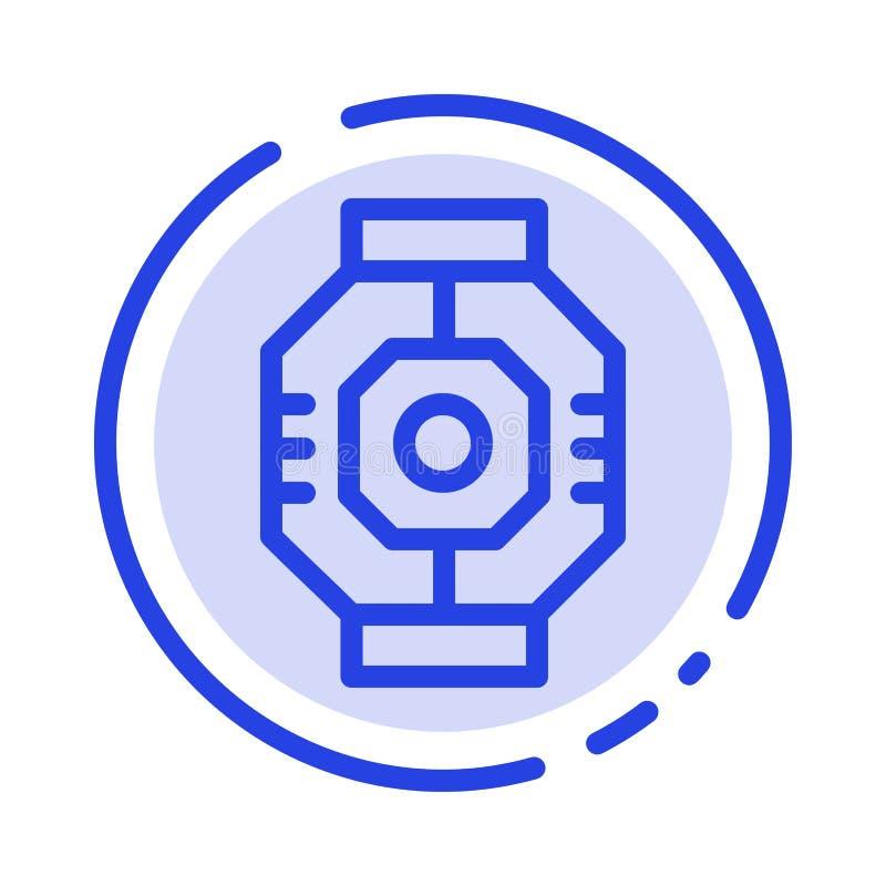 Represa, cápsula, componente, módulo, linha pontilhada azul linha ícone da vagem ilustração do vetor