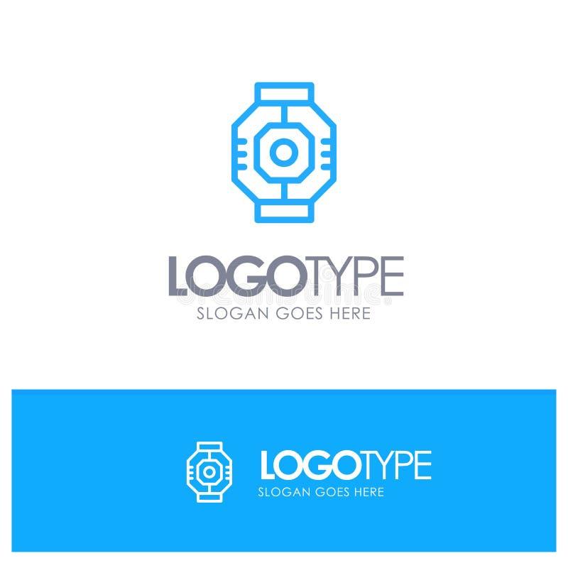 Represa, cápsula, componente, módulo, logotipo azul do esboço da vagem com lugar para o tagline ilustração royalty free