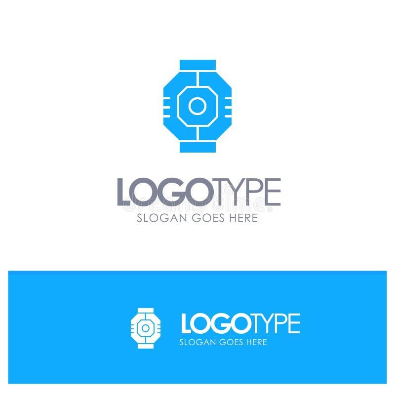 Represa, cápsula, componente, módulo, logotipo contínuo azul da vagem com lugar para o tagline ilustração do vetor