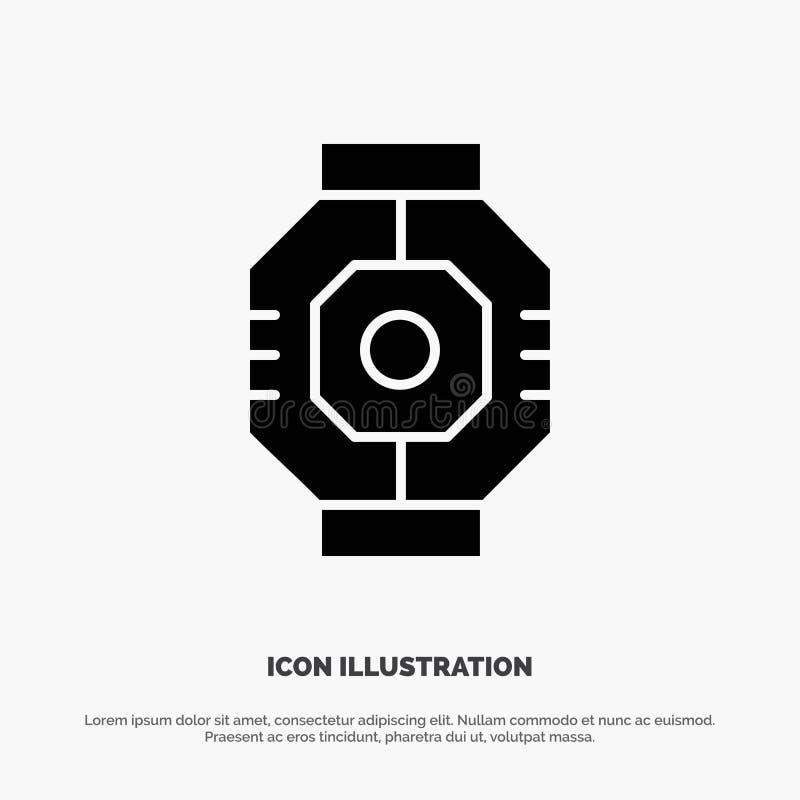 Represa, cápsula, componente, módulo, vetor contínuo do ícone do Glyph da vagem ilustração do vetor