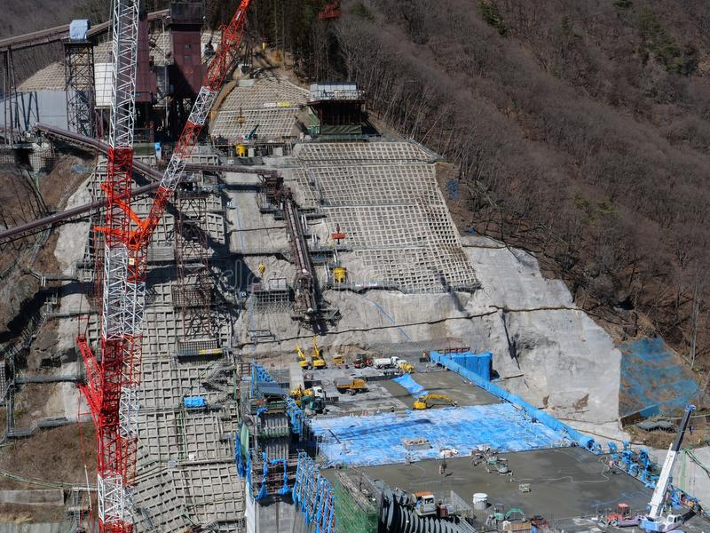 Represa de Yanba sob a construção foto de stock royalty free
