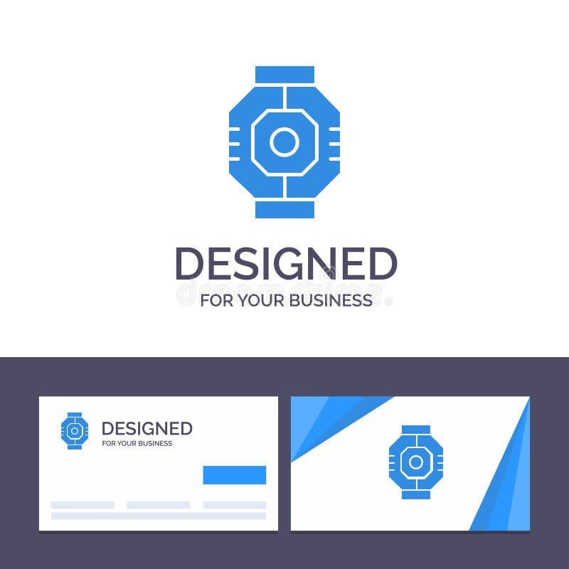 Represa do molde criativo do cartão e do logotipo, cápsula, componente, módulo, ilustração do vetor da vagem ilustração royalty free