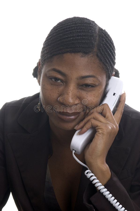 Represenatative schönes des Kundendiensts mit Fluglage auf Phon stockfoto