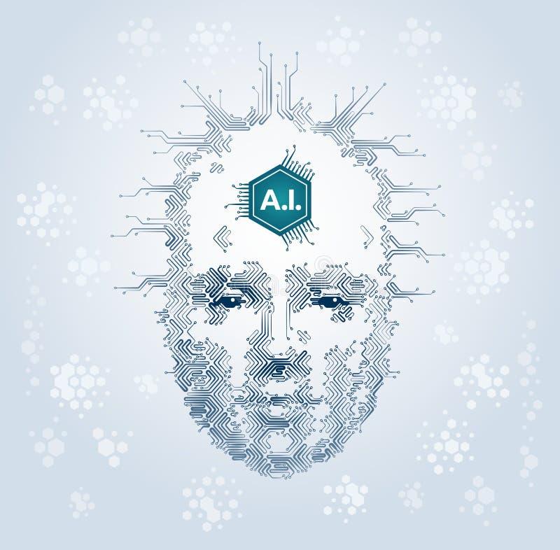 Representação artística da inteligência artificial ilustração do vetor