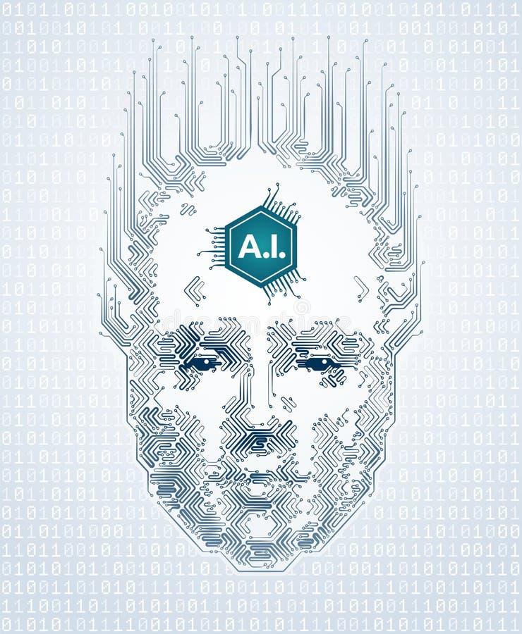 Representação artística da inteligência artificial ilustração royalty free