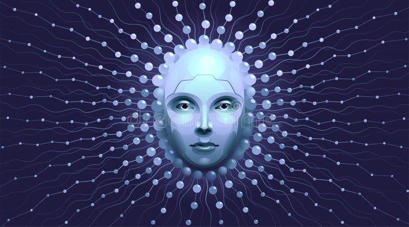 Representação artística da inteligência artificial ilustração stock