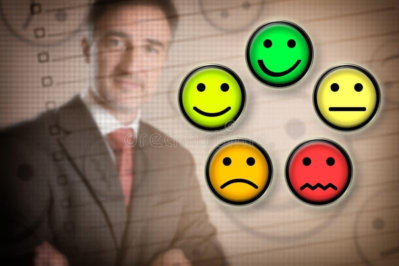 Representação da escolha da satisfação no negócio imagens de stock