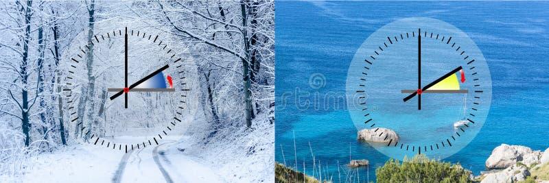 Representação do tempo de inverno contra horas de verão, fotos de stock
