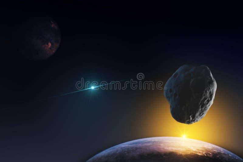 Representação fantástica dos planetas no espaço infinito do universo e dos raios do sol de aumentação Elementos deste ima imagens de stock royalty free