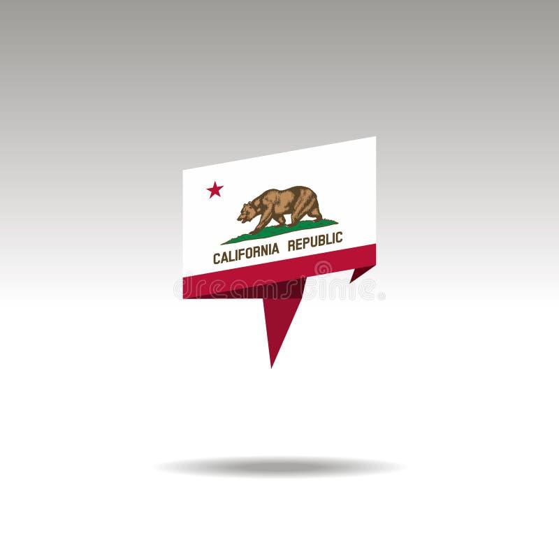 Representação gráfica da designação do lugar no estilo do origâmi com uma bandeira Califórnia em um fundo cinzento ilustração do vetor