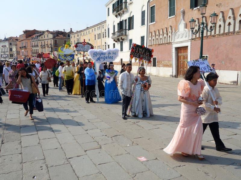 Representação histórica de Santacruzen, Veneza, Vêneto, Itália fotografia de stock