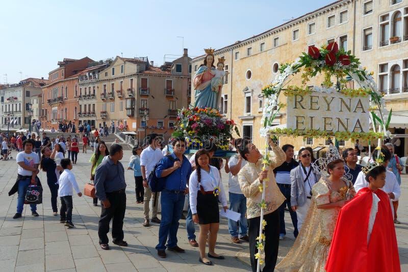 Representação histórica de Santacruzen, Veneza, Vêneto, Itália foto de stock