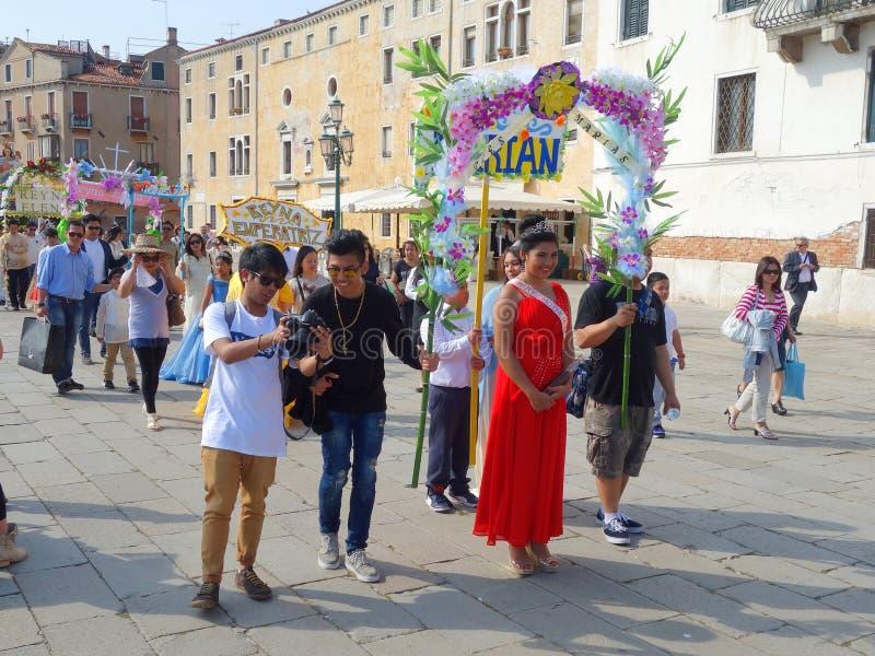Representação histórica de Santacruzen, Veneza, Vêneto, Itália imagem de stock