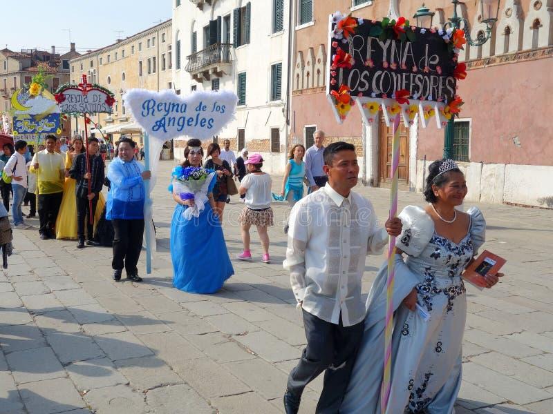 Representação histórica de Santacruzen, Veneza, Vêneto, Itália fotos de stock