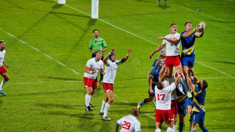 Representação polonesa do rugby durante o fósforo com Suécia imagens de stock