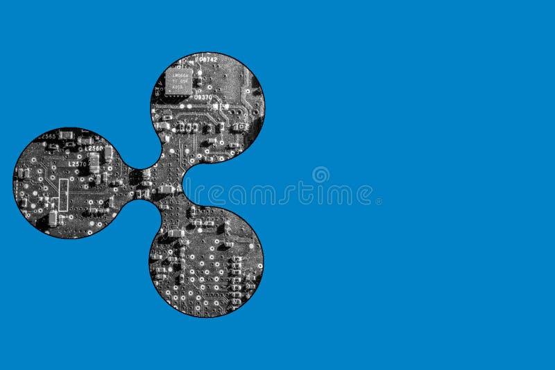 Representação simbólica da moeda da ondinha com placa de circuito imagem de stock