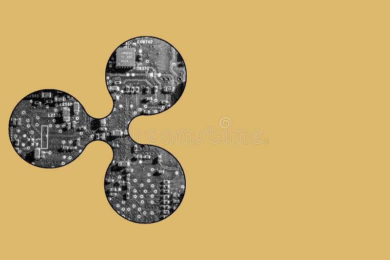 Representação simbólica da moeda da ondinha com placa de circuito fotografia de stock