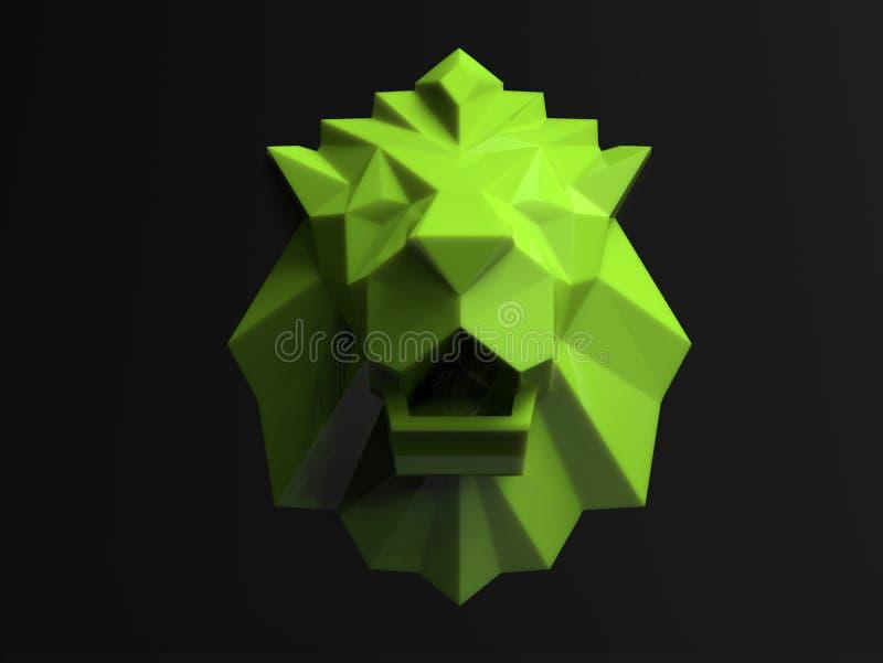 Representação verde da cabeça do leão ilustração do vetor