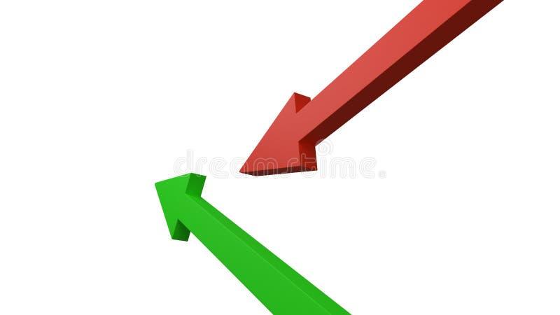 Representação verde e vermelha dos arrrows diferente um ganho ou uma perda no estoque ou umas finanças do negócio isoladas no bra ilustração royalty free