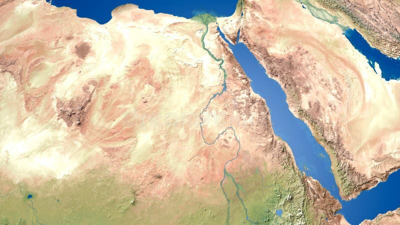 Representación árabe del mapa 3d del Golfo Pérsico del mapa del golfo de Oriente Medio del mapa de Egipto stock de ilustración