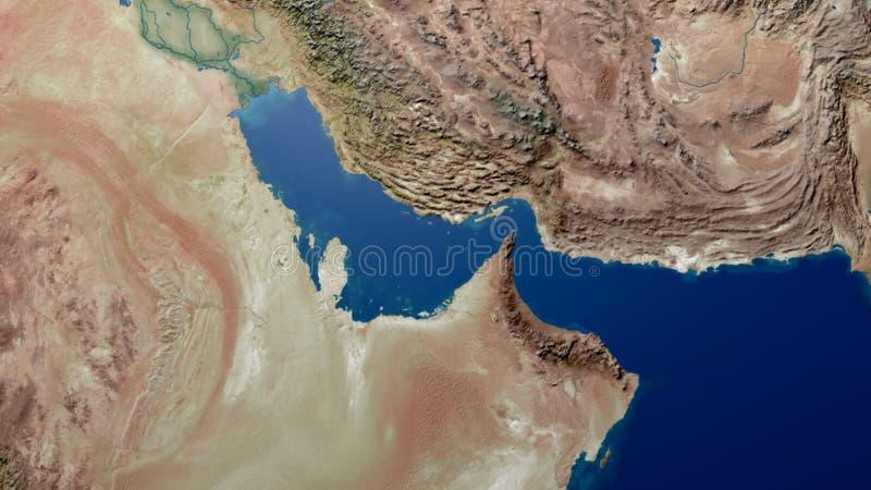 Representación árabe del mapa 3d del Golfo Pérsico del mapa del golfo de Oriente Medio stock de ilustración