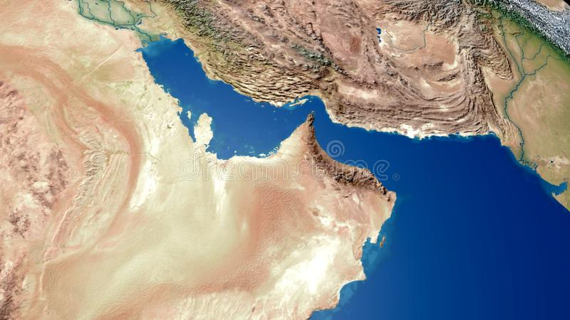 Representación árabe del mapa 3d del Golfo Pérsico del mapa del golfo de Oriente Medio libre illustration