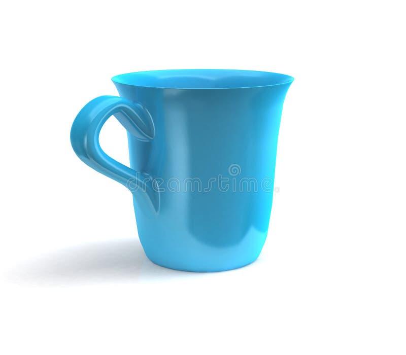 representación 3d de la taza de café aislada en blanco stock de ilustración