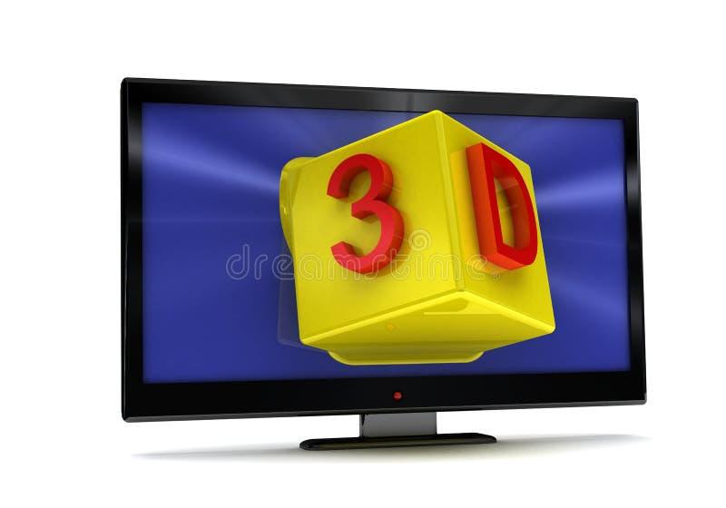 representación 3D de TV, monitor del lcd en blanco stock de ilustración