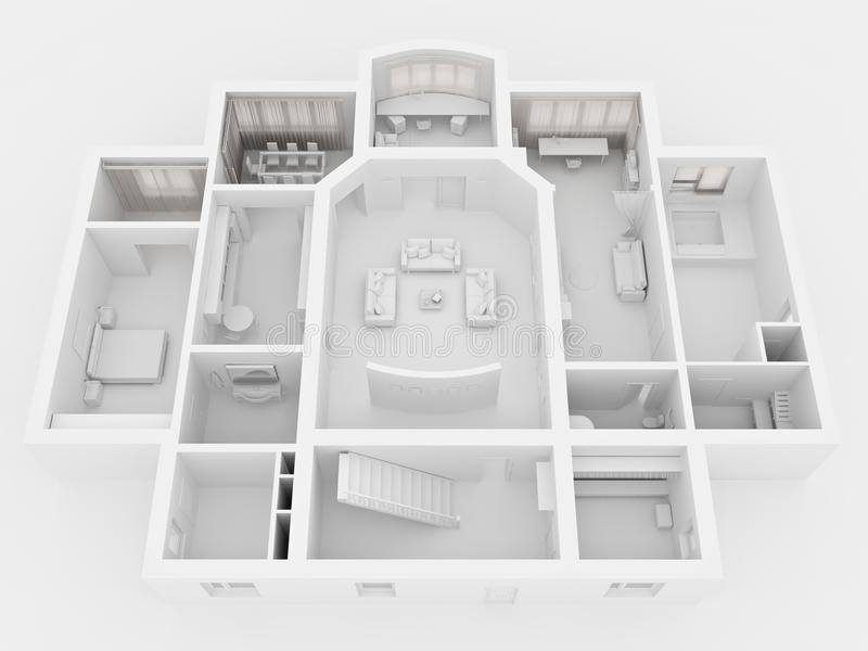 representación 3D del interior casero ilustración del vector