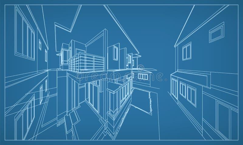 Representación abstracta 3D de la estructura del wireframe del edificio Vector ilustración del vector