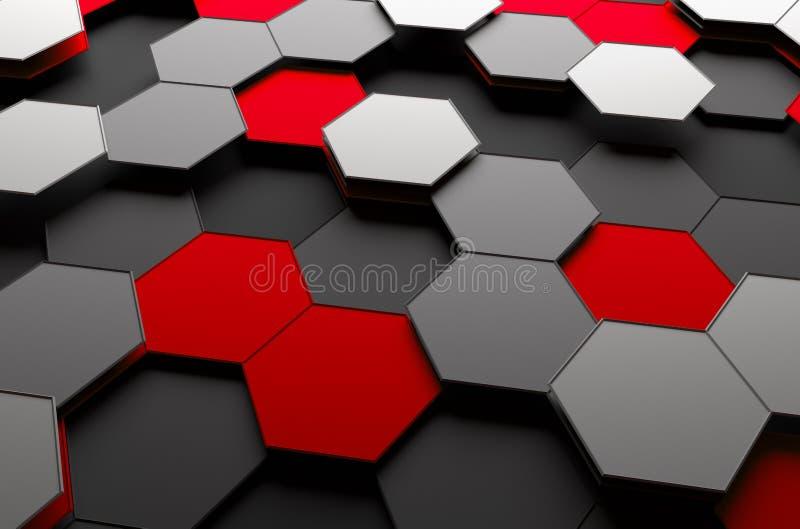 Representación abstracta 3D de la superficie con hexágonos libre illustration