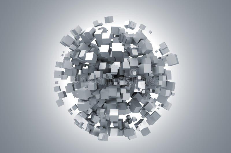 Representación abstracta 3d de los cubos blancos stock de ilustración