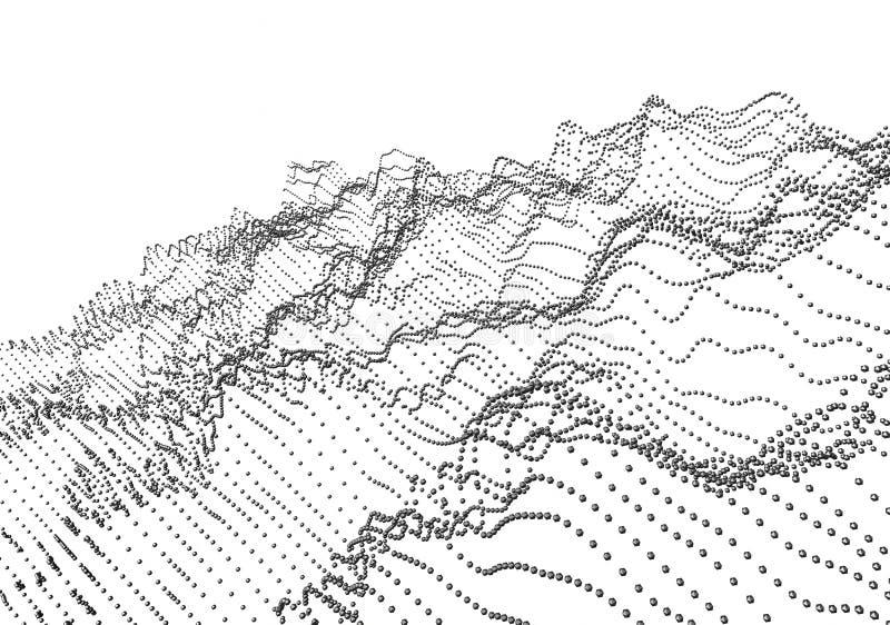 Representación abstracta 3D de ondas con las partículas ilustración del vector