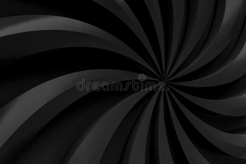 Representación abstracta del fondo 3d del negro del remolino libre illustration