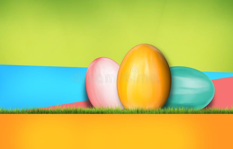 Representación abstracta moderna colorida del fondo 3d de los huevos de Pascua ilustración del vector