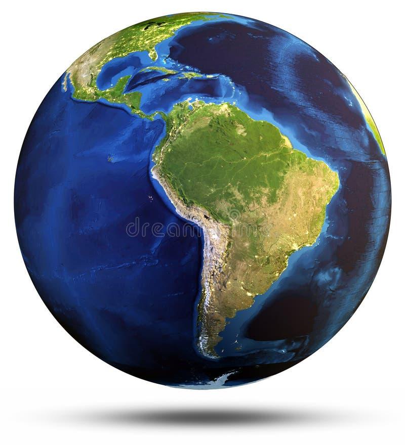 Representación aislada blanco 3d de la tierra del planeta ilustración del vector