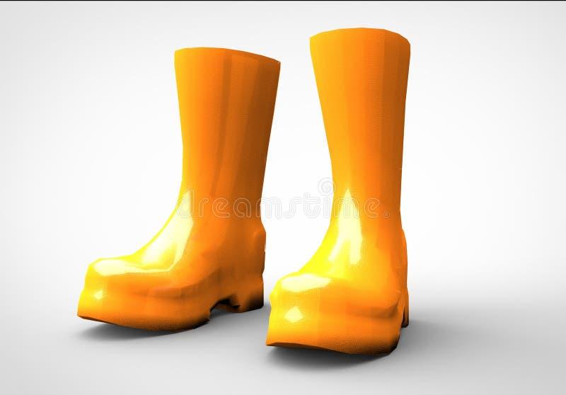 Representación amarilla de la bota 3D fotos de archivo libres de regalías