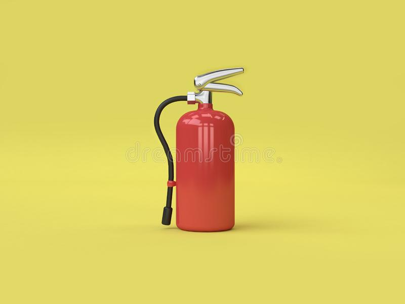 Representación amarilla del fondo 3d del extintor stock de ilustración