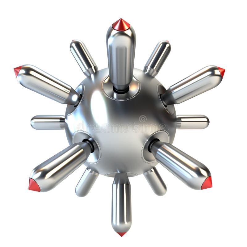 Representación antisubmarina de la bomba 3d ilustración del vector