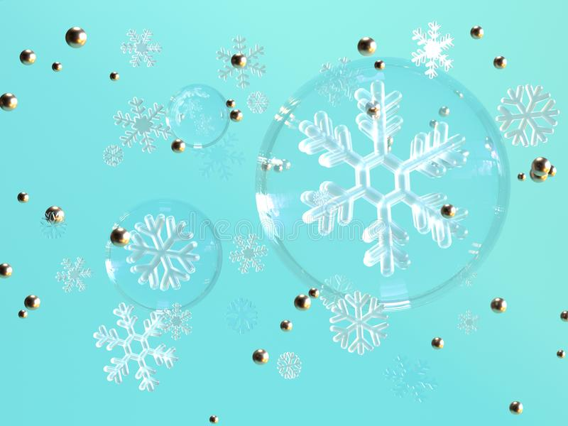 representación azul de la levitación 3d del copo de nieve de la esfera del claro del fondo libre illustration
