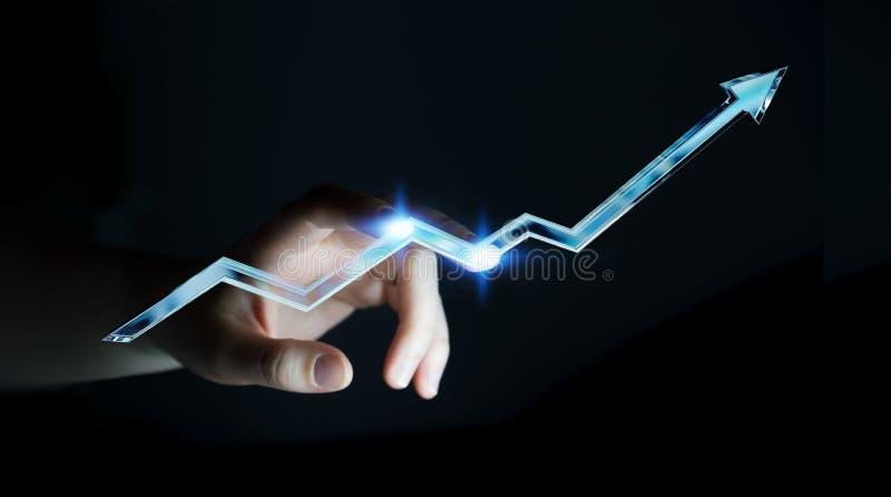 Representación azul digital conmovedora de la flecha 3D de la empresaria ilustración del vector