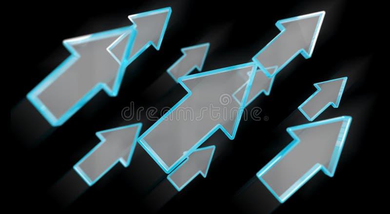 Representación azul moderna de la flecha 3D de Digitaces libre illustration