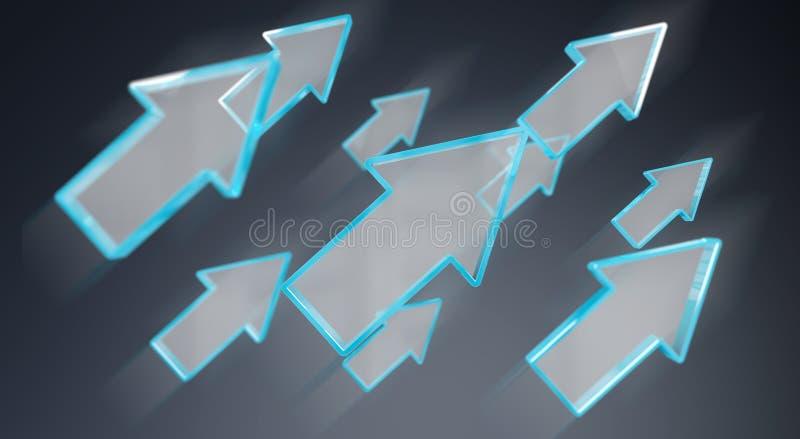 Representación azul moderna de la flecha 3D de Digitaces ilustración del vector